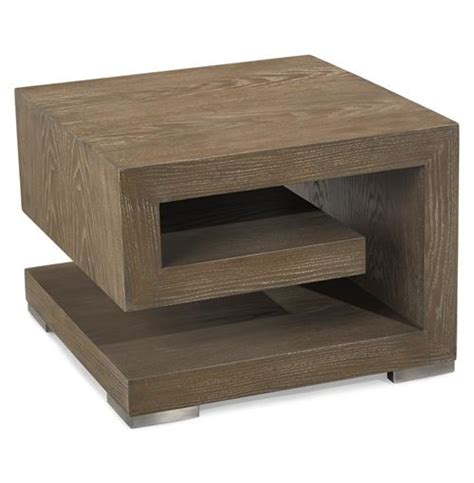 weathered wood end table agora global bazaar weathered brown wood geometric side