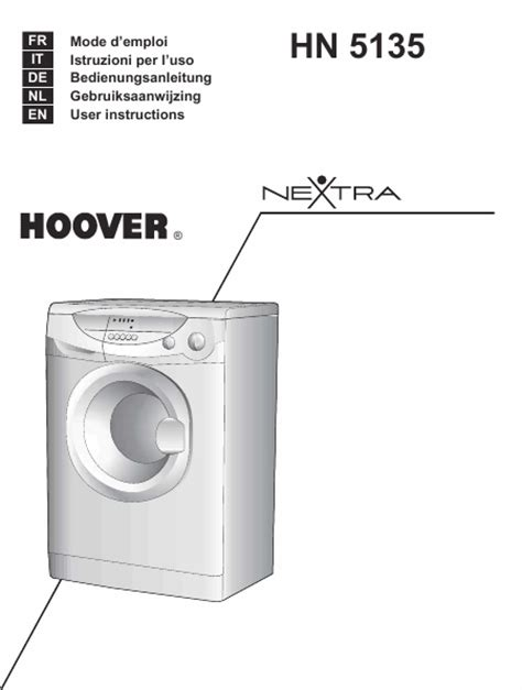 lave linge en anglais hoover hn 5135 mode d emploi notice d utilisation manuel utilisateur t 233 l 233 charger pdf