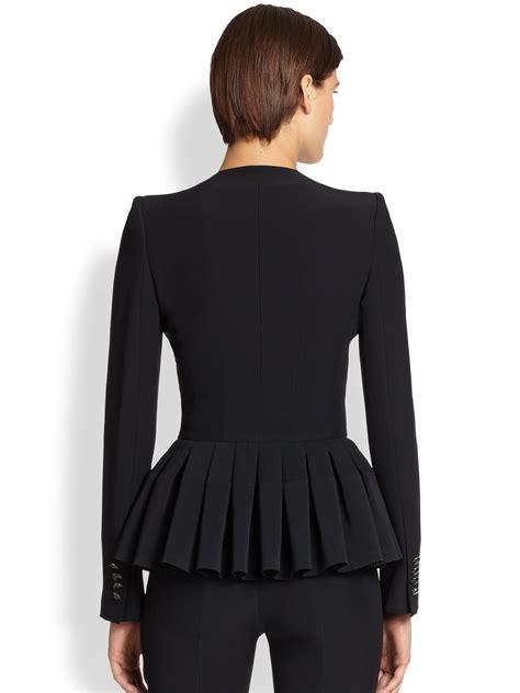 jacquard ruffle blazer mcqueen crepe ruffle peplum jacket in black lyst