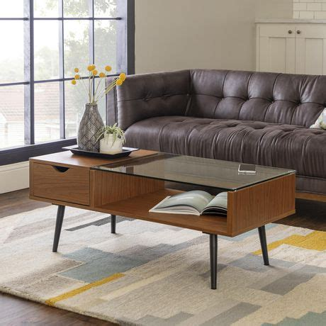 The unusual glass top has a sculptural shape that fits w. Manor Park Mid-Century Modern Glass and Wood Coffee Table - Dark Walnut   Walmart Canada