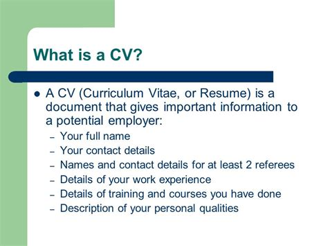 What Is Important To In A Resume by Curriculum Vitae Or Resume Writing Ppt