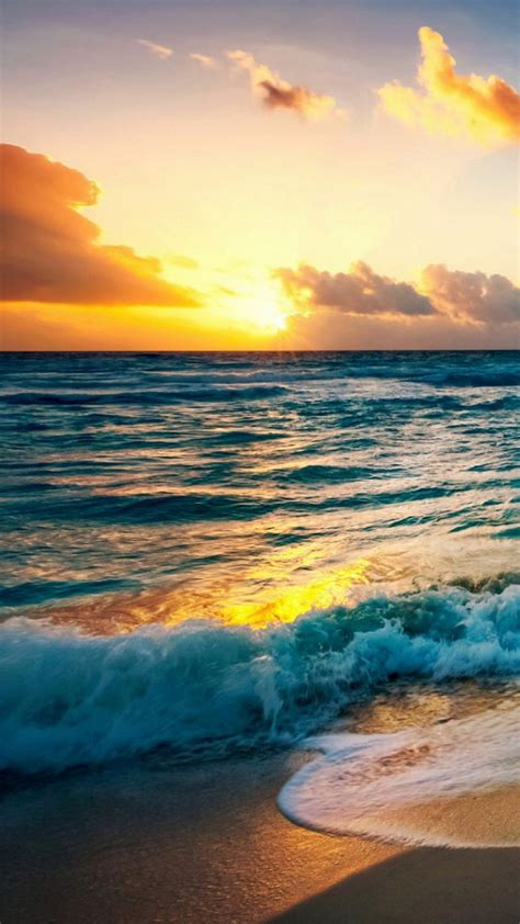 sunset beach  sea wave oppo find wallpaper hd