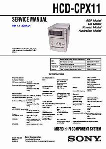 Sony Cmt-cpx1  Hcd-cpx1 Service Manual