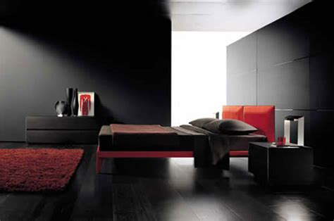 Bedroom: Lovely Modern Black And Red Classy Bedroom
