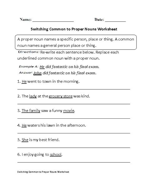 switching common to proper nouns worksheet third fourth and fifth graders homework helper