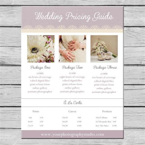 wedding photography pricing guide template