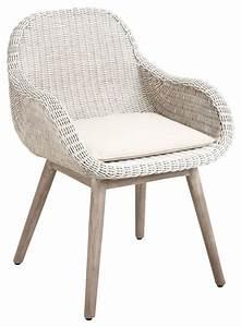 Fauteuil De Salle à Manger : fauteuil en rotin blanc et bois ~ Teatrodelosmanantiales.com Idées de Décoration
