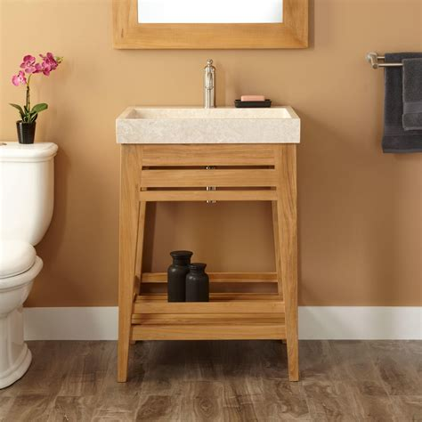 trough sink bathroom vanity 24 quot aurelia teak trough sink vanity natural teak bathroom