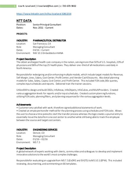 Project Manager Skill Set Resume by Project Resume Ntt Data