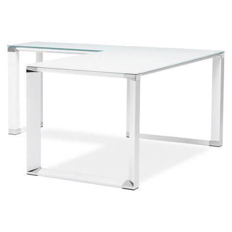 bureau en verre d angle bureau d 39 angle design master en verre trempé blanc