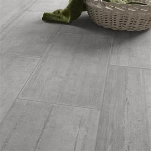 carrelage sol et mur gris clair effet beton industry l30 With carrelage effet parquet gris