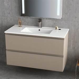 Meuble 100 Cm : meuble vasque c ramique 100 cm moka brillant inglet ~ Teatrodelosmanantiales.com Idées de Décoration