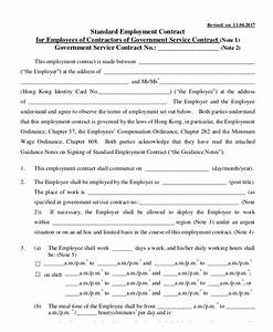 8 employment contract templates free sample example With standard contract of employment template