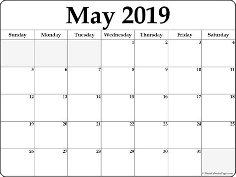 Free May 2019 Calendar Printable Template Blank Word Pdf Notes