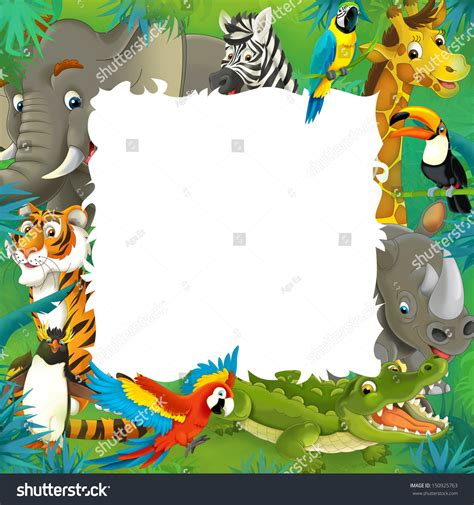 tropical wild templat cartoon safari jungle frame border template stock