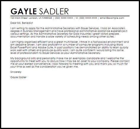 administrative cover letter administrative cover letter sample livecareer