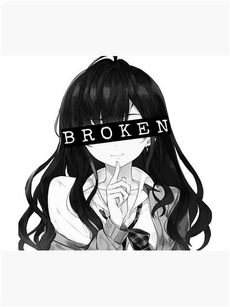Aesthetic Broken Anime Girl Framed Art Print By Vablu Redbubble