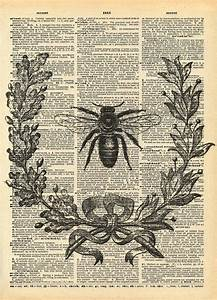 Vintage Book Print Bumble Bee Wreath Recycled Antique