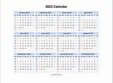 2023 Calendar Blank Printable Calendar Template in PDF