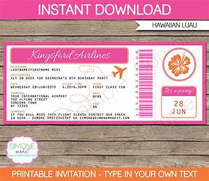 luau boarding pass invitations template birthday party With free printable boarding pass wedding invitations