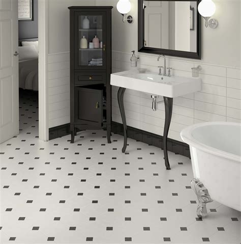 black and white floor tiles bathroom wood floors