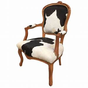 Fauteuil Peau De Vache : fauteuil baroque de style louis xv peau de vache noire et bois naturel ~ Teatrodelosmanantiales.com Idées de Décoration