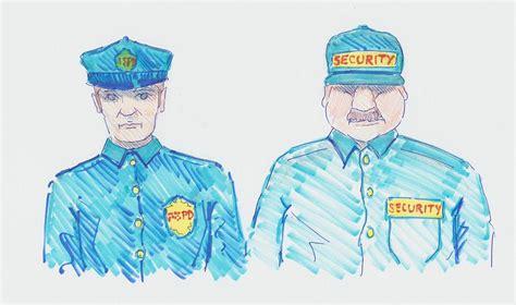 policeman security guard cartoon drawing  mike jory