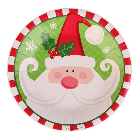 20pcs christmas paper plate dishes cake dish santa claus