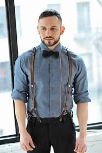 Menu0026#39;s Black Vertical Striped Dress Pants Black Bow-tie Blue Chambray Longsleeve Shirt and ...