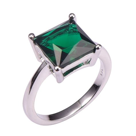 simulated emerald 925 sterling silver wedding fashion design ring size 5 6 7 8 9
