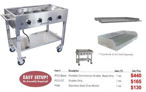 Crestware Portable Commercial Griddles and Grills plus Outdoor Cooking Acessories