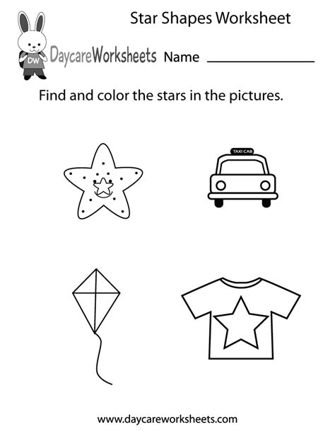 free shapes worksheet for preschool 507 | star shapes worksheet printable