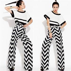 Designer Overalls Womens 2 Pieces Suit 2013 Spring Black White Wide Leg Long Pants