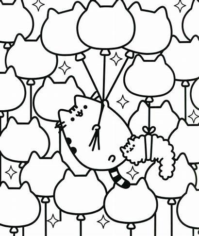 Pusheen Coloring Pages Cat Balloon Kitties