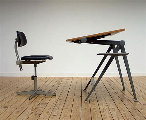 friso kramer industrial drafting table and chair 1954