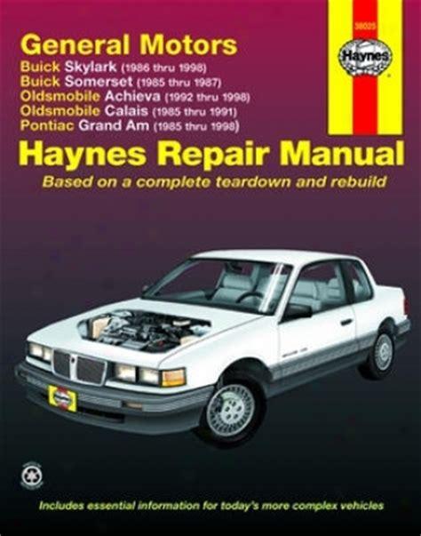 auto repair manual online 1986 buick skylark navigation system buick skylark and somerset olds achieva and calais pontiac grand am haynes repair manual