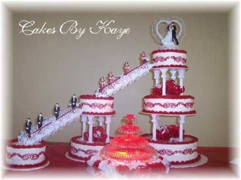 6 Tier Wedding Cake With Fountain & Stairs Red White Roses