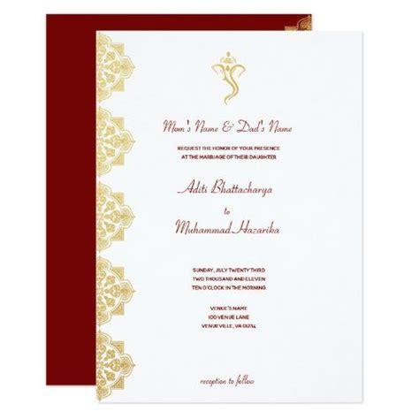 Red & Gold Ganesha and Mehndi Indian Wedding Invitation