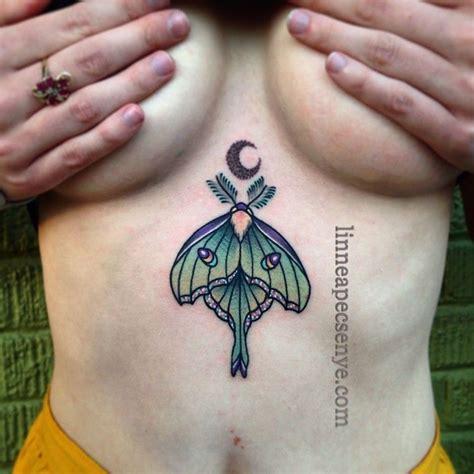 luna moth tattoo crescent moon tattoo underboob tattoo  linnea tattoos  asheville tattoo