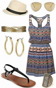Dress casual spring outfits summer outfits flat sandals flats print summer blue tribal ...