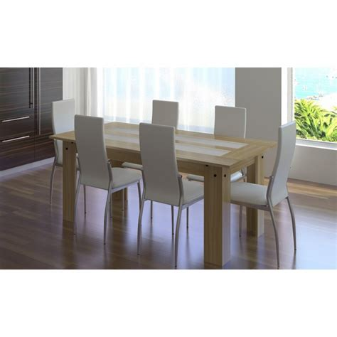 table et chaise blanc 1 ensemble table bois 6 chaises