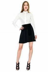 jupe patineuse jupe taille haute jupe satin noir renoma With jupe a carreaux noir et blanc