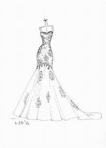 Drawn Wedding Dress Simple Pencil And In Color Drawn