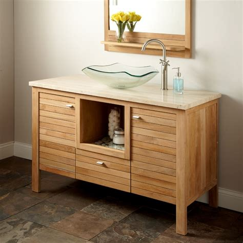 payson teak vanity cabinet  vessel sink everyday
