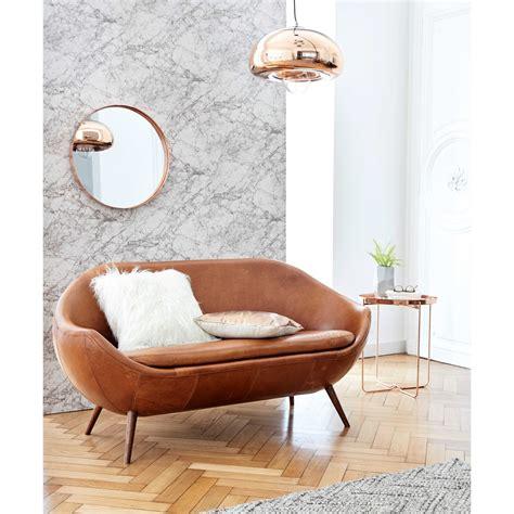 canapé en l canapé en cuir cognac home run canapé maisons du monde