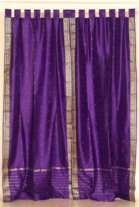 purple and gold sari tab top purple silk sari curtains