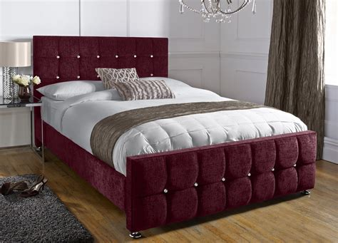 Black Leather Headboard Single by Chenille Aubergine Superking Barcelona Bed Handcrafted In