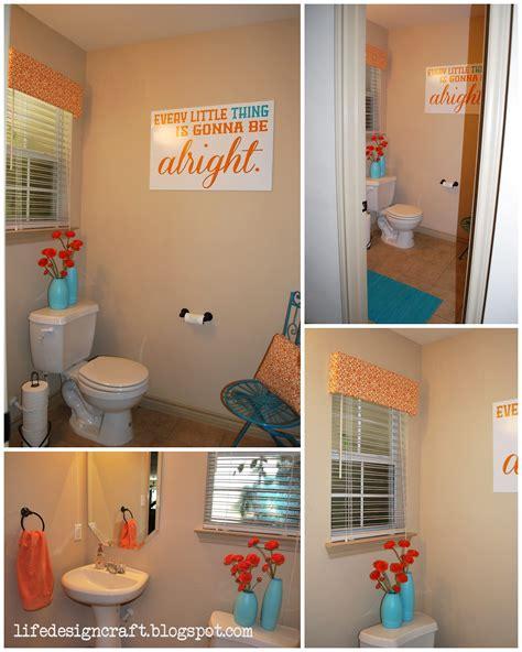 orange turquoise bathroom   print
