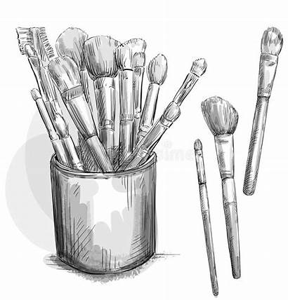 Brushes Makeup Vector Case Sketch Illustration Professional