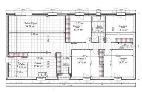 plan maison plain pied 2 chambres gratuit plan de maison plain pied gratuit 4 chambres 1 plans